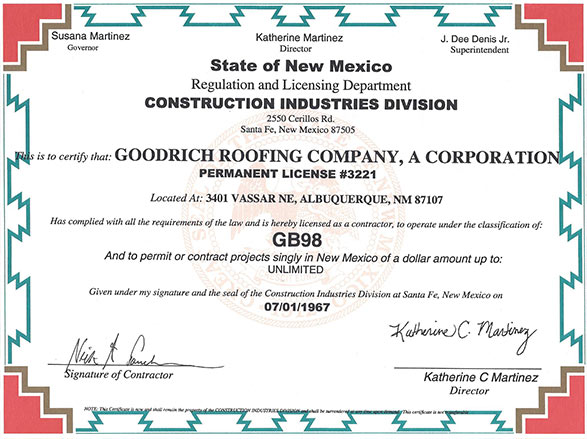 insurance  sc 1 st  Goodrich Roofing & License Insurance and Warranties | Goodrich Roofing | Albuquerque NM memphite.com